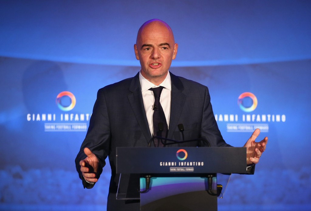 FIFA Presidential candidate Infantino joined by star names at unveiling of 90-day plan