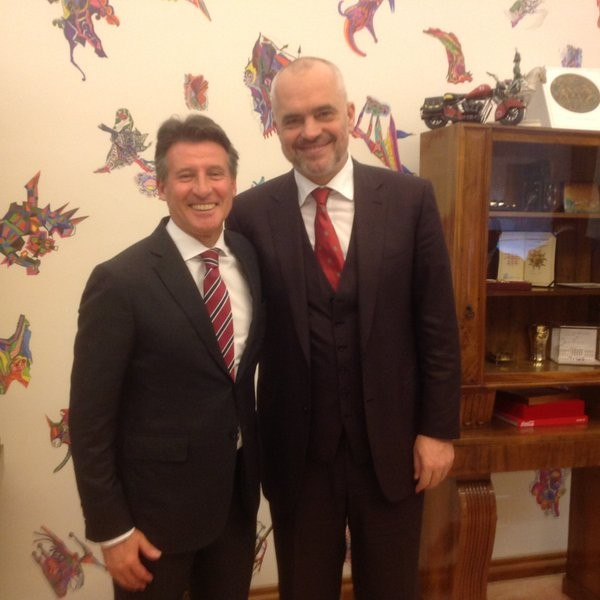 IAAF President Coe holds meetings with Albanian Prime Minister in Tirana