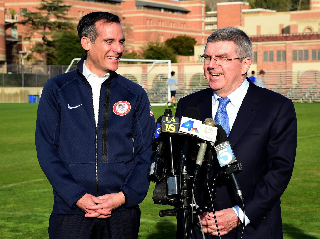 Los Angeles Mayor Eric Garcetti was one of the key officials to host Thomas Bach and the IOC delegation ©Getty Images
