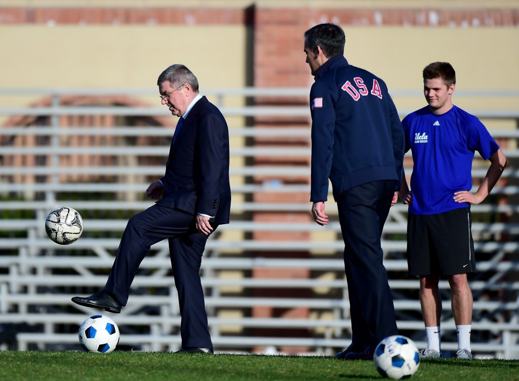 The IOC President visited facilities at UCLA, which was proposed as the Athletes' Village last week