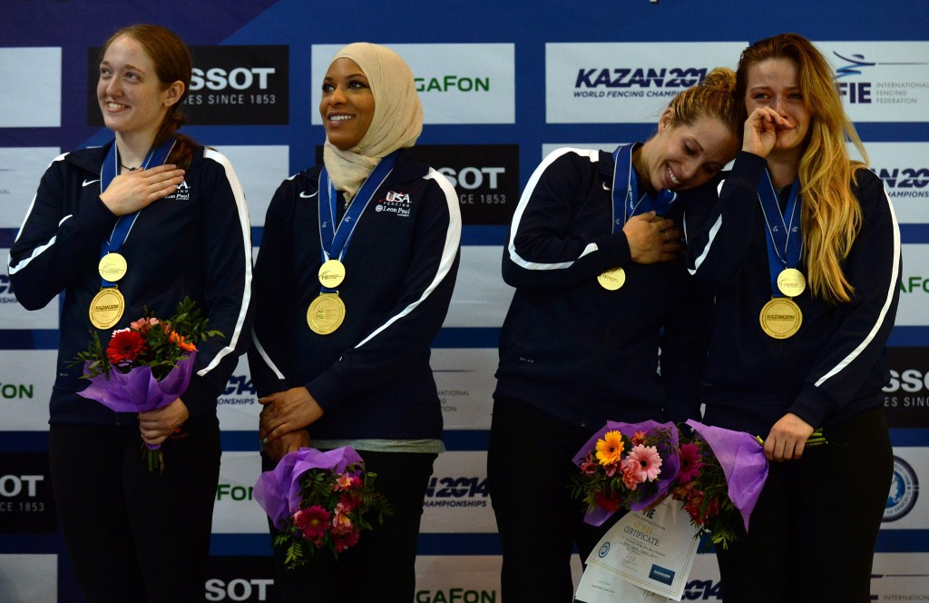 Ibtihaj Muhammad will become the first American Olympian to compete wearing the muslim headscarf, the hijab ©Getty Images