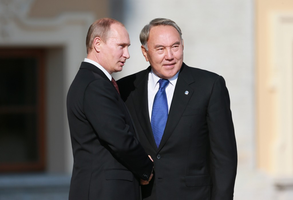 Nursultan Nazarbayev, pictured with Russian counterpart Vladimir Putin, was re-elected for a fresh five year term last month ©AFP/Getty Images