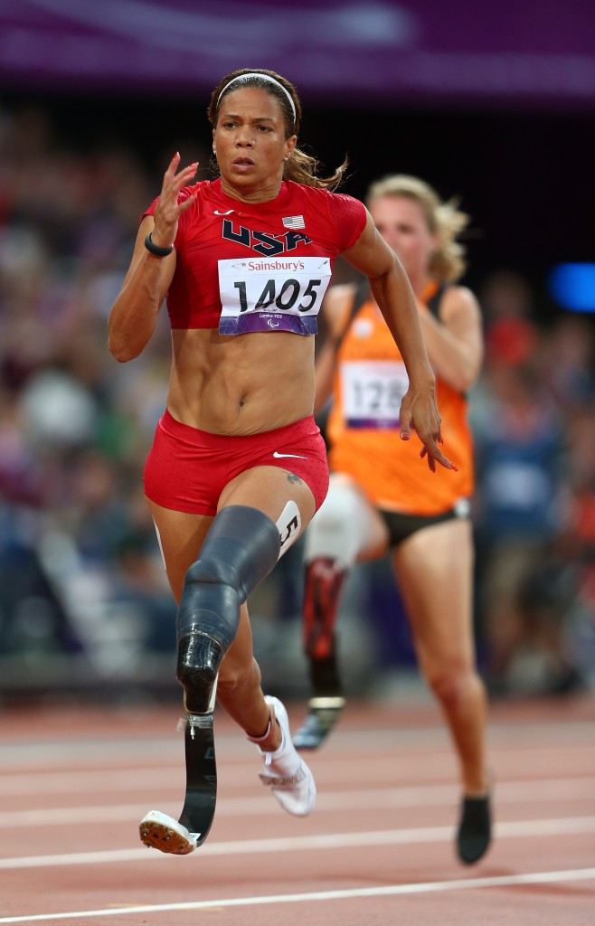 April Holmes, pictured during the London 2012 Paralympics, was another winner from the Grand Prix host nation ©Getty Images
