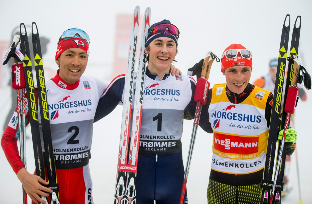 Riiber claims shock victory to end Frenzel's winning streak at FIS Nordic Combined World Cup