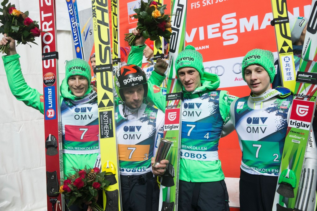 Slovenia won the men's team ski jumping event in Oslo after edging out host nation Norway