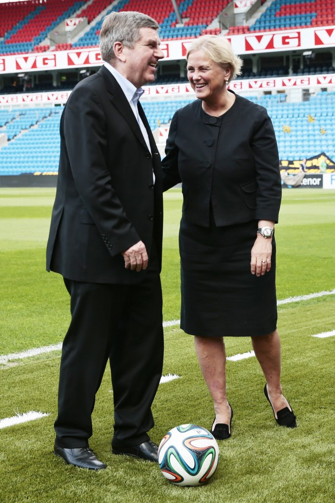Thomas Bach pictured with Norwegian Culture Minister Thorhild Widvey on his last IOC visit to Norway in May 2014 ©Getty Images