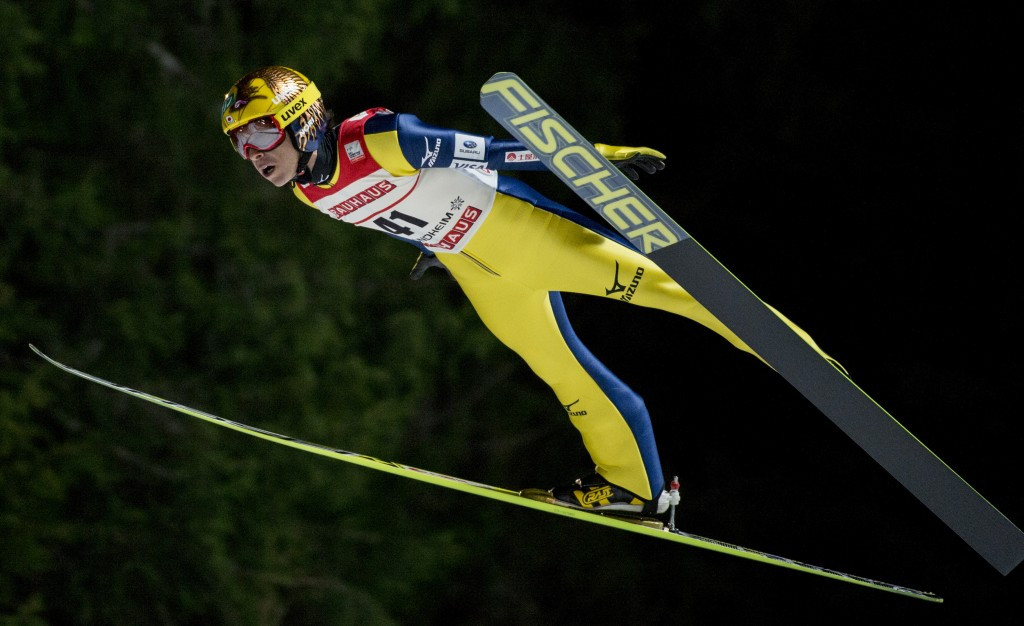 Japan's Noriaki Kasai produced the furthest jump of the day to secure a third place finish