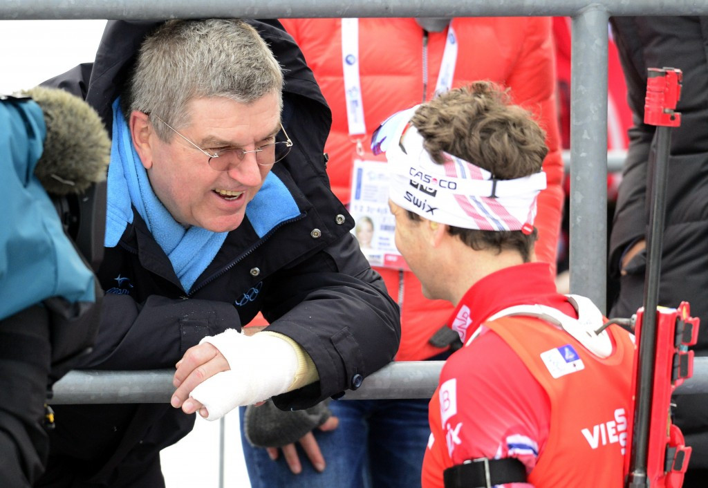 Ole Einar Bjørndalen with IOC President Thomas Bach during an IBU World Cup event in Oberhof in January 2015 ©Getty Images