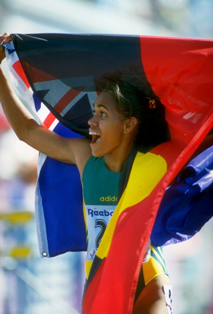 Arthur Tunstall courted controversy after he claimed Cathy Freeman should be sent home from the 1994 Commonwealth Games in Victoria after celebrating with both the Australian and Aboriginal flags ©Getty Images