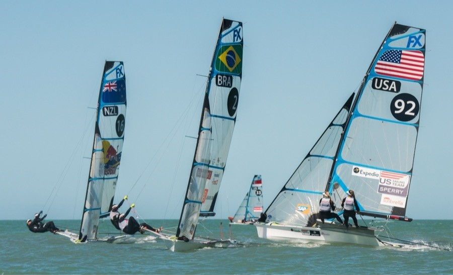 Maloney and Meech move into lead at 49erFX World Championships