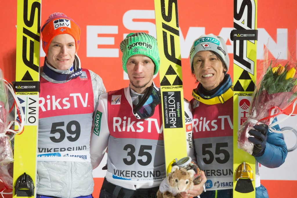 Norway's Kenneth Gangnes (left) and Japan's Noriaki Kasai (right) completed the podium positions in an event won by Slovenia's Robert Kranjec (centre) at the re-arranged FIS World Cup event in Vikersund ©Getty Images