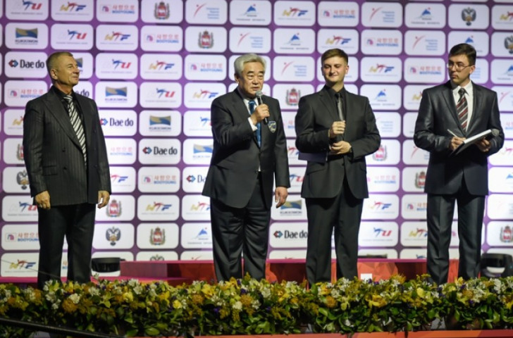 World Taekwondo Federation Chungwon, pictured speaking  at the Closing Ceremony of the World Championships, believes changes could be necessary to keep the sport fresh and exciting ©WTF