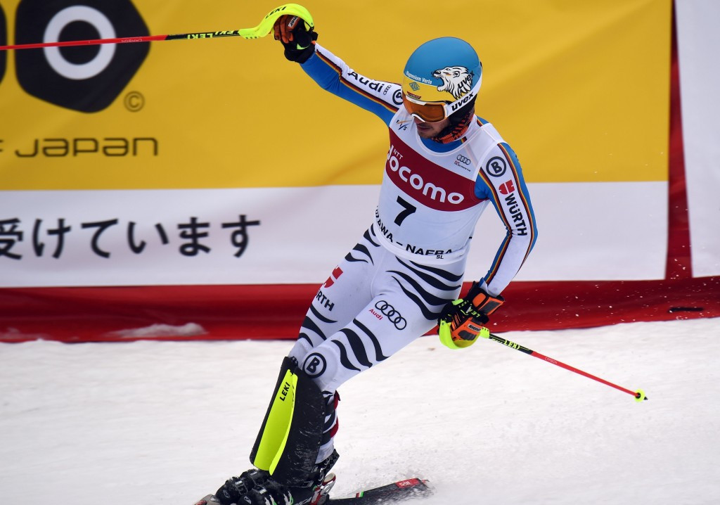 Felix Neureuther clenches his fist after winning in Japan ©Getty Images
