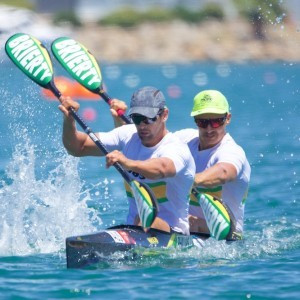 London 2012 Olympians Steve Bird and Jesse Phillips dedicated their K2 200 metres final victory at the Oceania Sprint Canoe Championships in Adelaide to the late Susan Quick ©Canoeing Australia