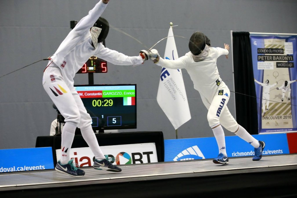 Italy's Enrico Garozzo beat Germany's Constantin Boehm to the gold medal at the men's épée Fencing World Cup in Vancouver