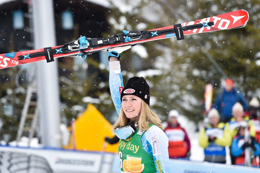 Mikaela Shiffrin celebrates her comeback victory today  ©Getty Images