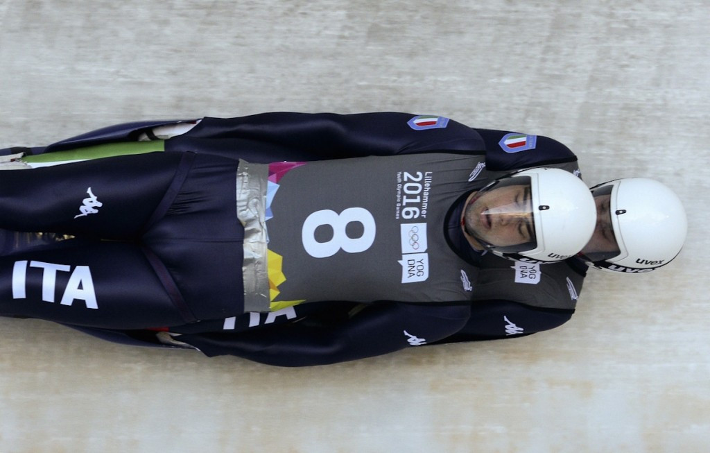 Felix Schwarz and Lukas Gufler of Italy claimed luge doubles gold ©Getty Images