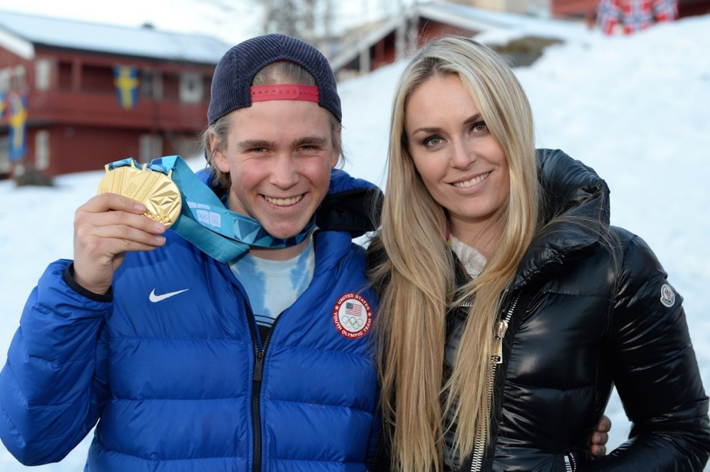 Lindsey Vonn met athletes including compatriot River Radamus, who has already won two Alpine skiing gold medals at these Games ©Getty Images