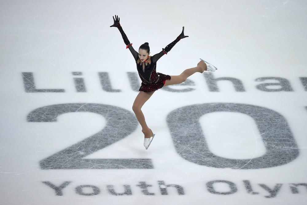 Fourteen-year-old skating prodigy Polina Tsurskaya won the women's individual competition