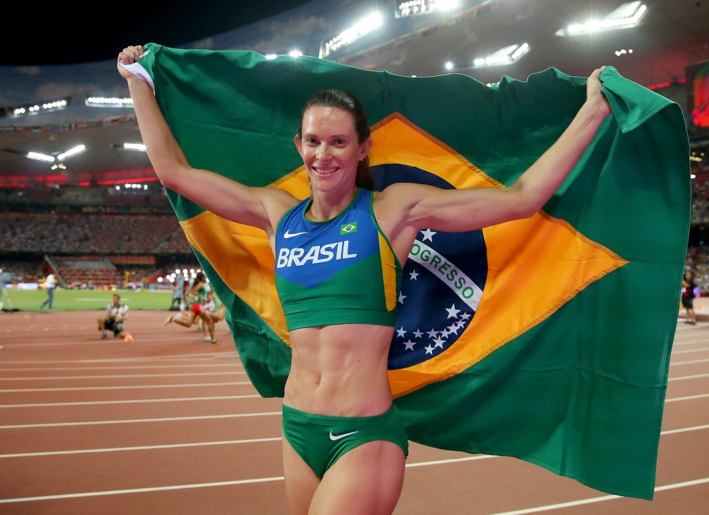 Brazil's Fabiana Murer, celebrating world pole vault silver in Beiing last year, is worried about the spread of the Zika virus but says it won't be a big problem for the Games ©Getty Images