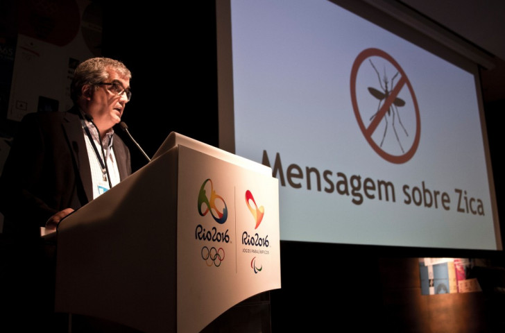 Mario Andrada, the Olympic Games Communications Director for Rio 2016, addressing concerns earlier this month over the spread of the Zika virus in Brazil ©Getty Images