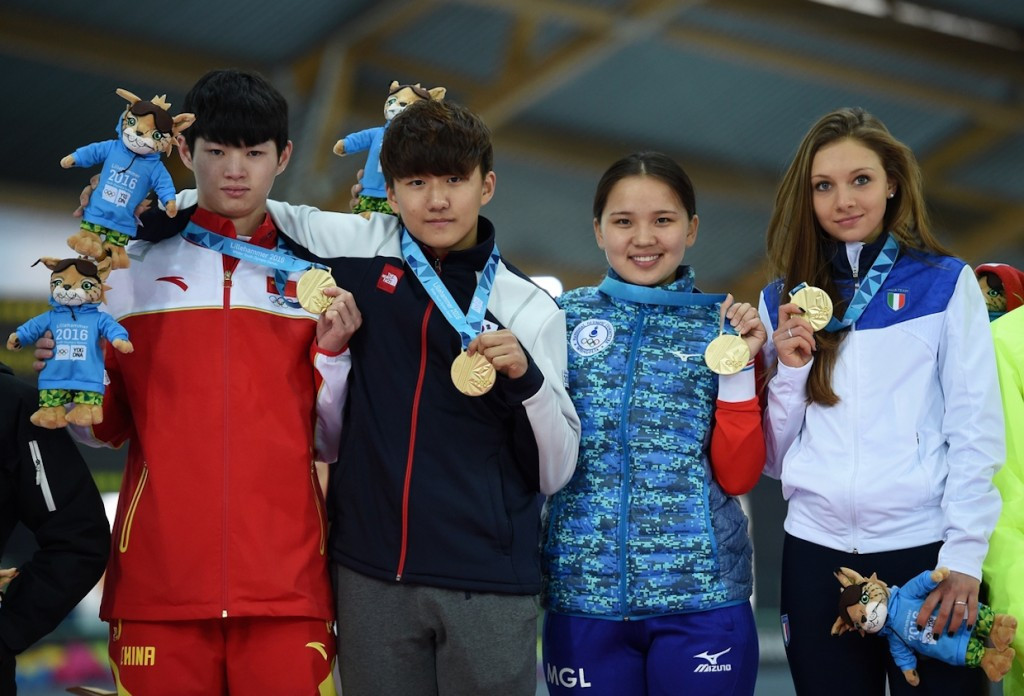 Skaters from China, South Korea, Mongolia and Italy claimed team gold ©Lillehammer 2016