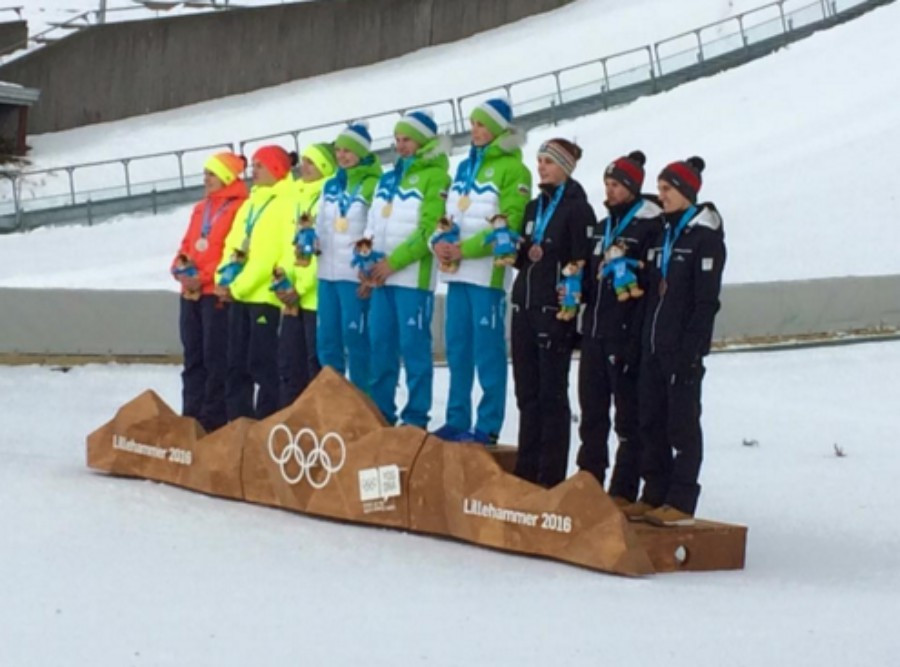 Slovenia won gold ahead of Germany and Austria in the mixed team ski jumping event ©Lillehammer 2016