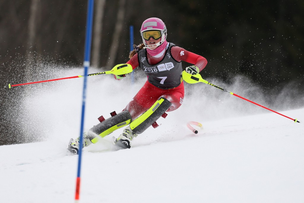 Aline Danioth of Switzerland claimed women's slalom gold ©Lillehammer 2016