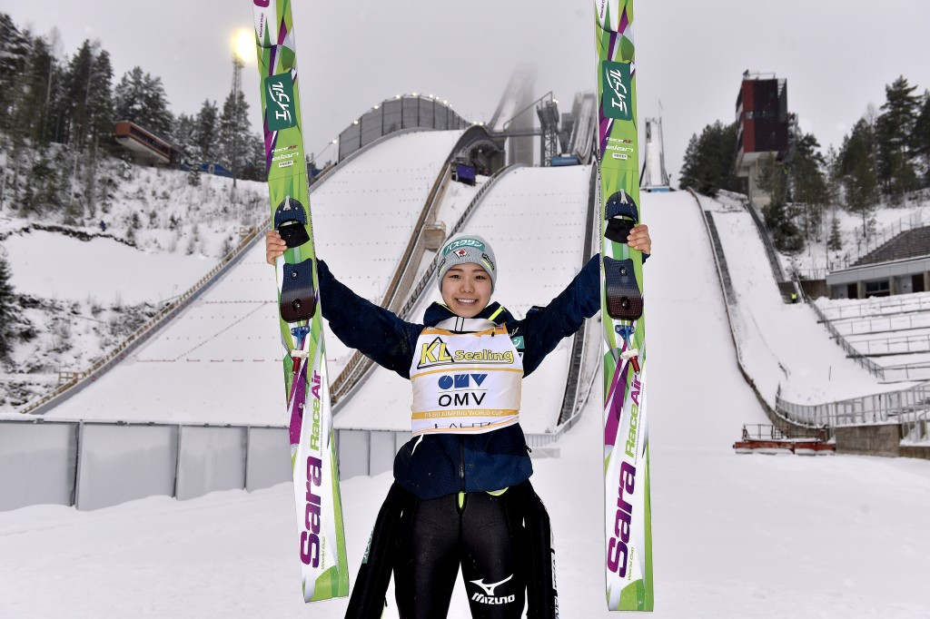 Sara Takanashi won her 12th World Cup competition of the season to confirm her dominance