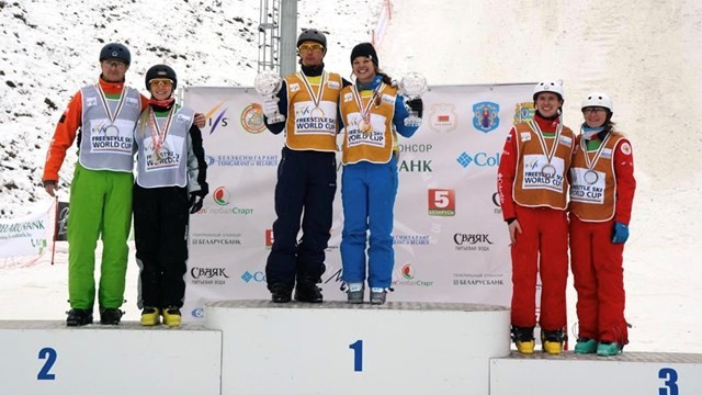 Ashley Caldwell and Oleksandr Abramenko were crowned the World Cup winners in Minsk ©FIS