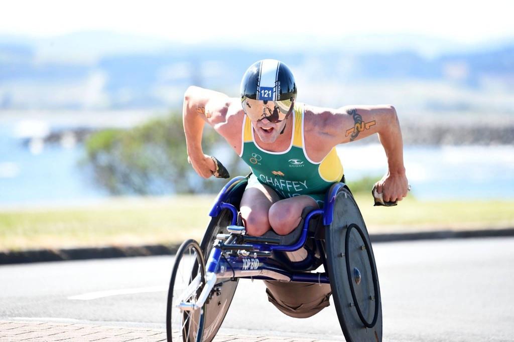 Australia's Bill Chaffey added the Oceania Paratriathlon Championships title to his collection in Devonport today ©Delly Carr/Triathlon Australia