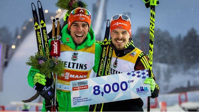 Germans claim FIS Nordic Combined World Cup gold after Norwegian rival dislocates shoulder