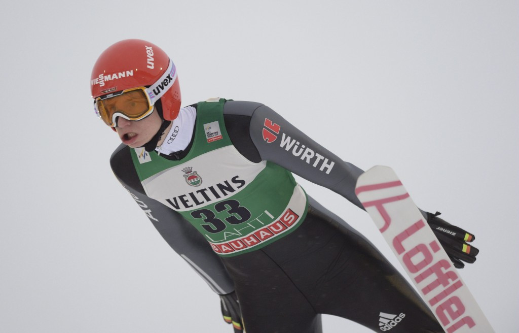 Germany's Karl Geiger finished on the podium for the first time this season