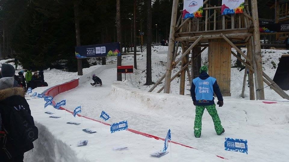 A miniature bobsleigh track has proved particularly popular for youngsters here at Lillehammer 2016 ©Lillehammer 2016