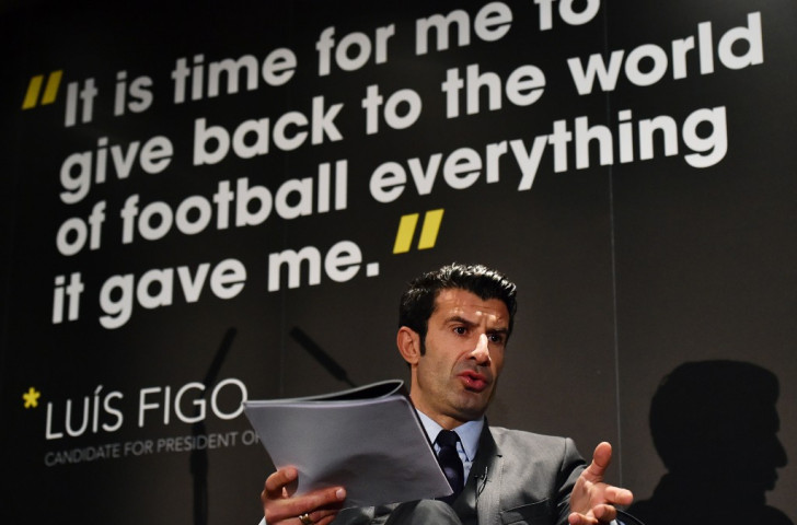 Luis Figo launched his FIFA Presidency manifesto in February but has now pulled out of the race