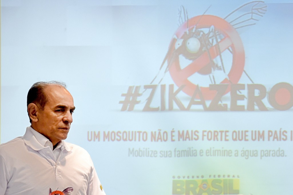 Brazilian Health Minister Marcelo Castro speaks at a Zika awareness event