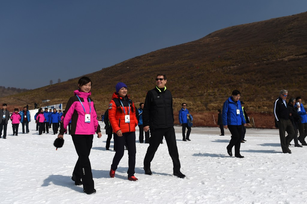 Alexander Zhukov, centre, chaired the IOC's Evaluation Commission for the 2022 Winter Olympics and Paralympics, which ended with Beijing beating Almaty by 44 votes to 40 ©Getty Images
