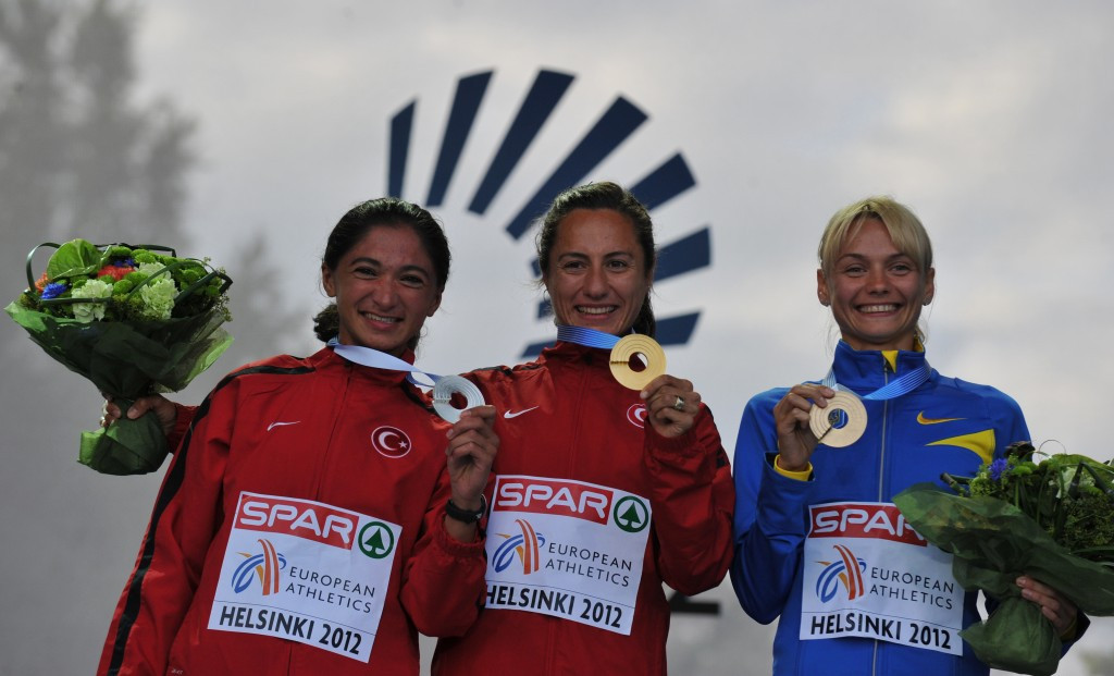 Original gold and bronze 1500 metres medallists Asli Cakir-Alptekin of Turkey (centre) and Ukraine's Anna Mishchenko have each now been stripped of their 2012 European Championship medals ©AFP/Getty Images