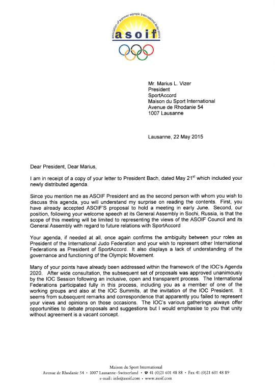 Francesco Ricci Bitti's letter to Marius Vizer