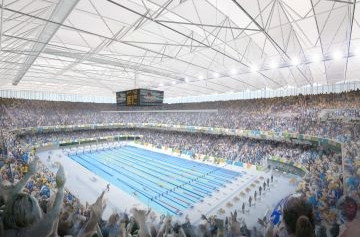 An artistic impression of the completed Olympic Aquatics Stadium to be used for swimming competition at Rio 2016 ©Rio 2016