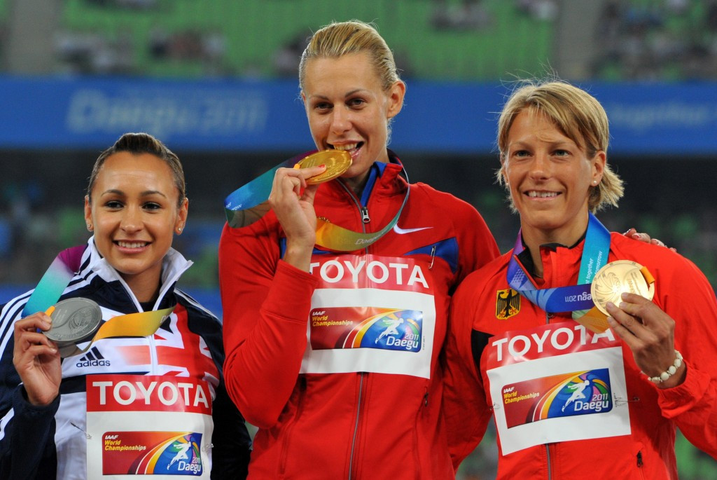 Tatyana Chernova (centre) won gold at the 2011 World Championships but has not yet been stripped of that title ©Getty Images