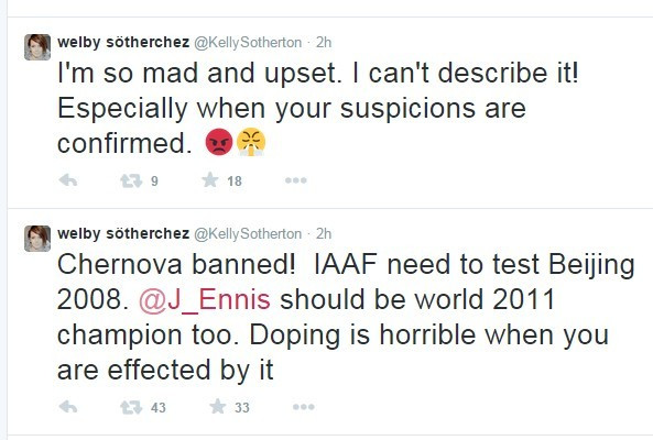Britain's Kelly Sotherton, the Athens 2004 Olympic bronze medallist, led calls for Russia's Tatyana Chernova to be stripped of her 2011 world title after she received a two-year ban last year ©Twitter