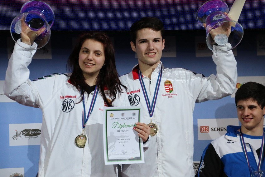Hungary claimed mixed team golds in pistol and rifle competitions ©ESC