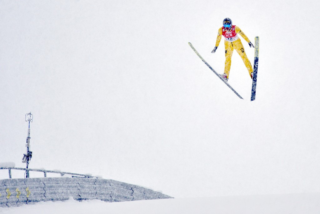 Samuel Costa jumped 142m but crashed on landing in strong winds