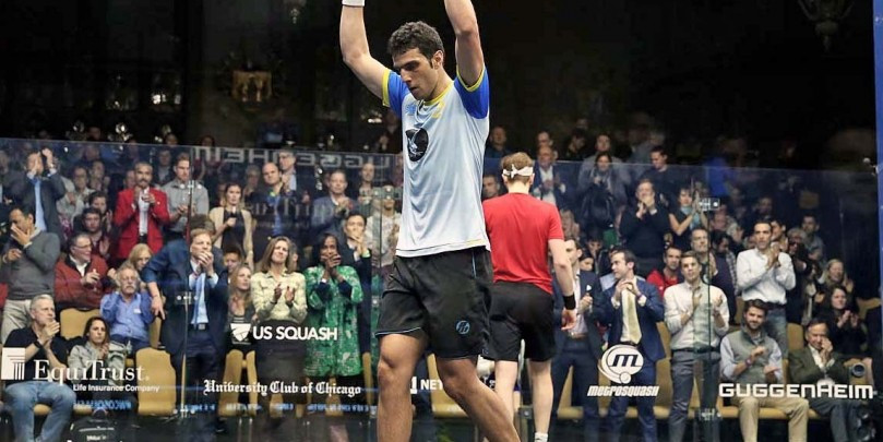 Tarek Momen of Egypt and Mathieu Castagnet of France were among players to produce shock victories at the Windy City Open ©squashpics