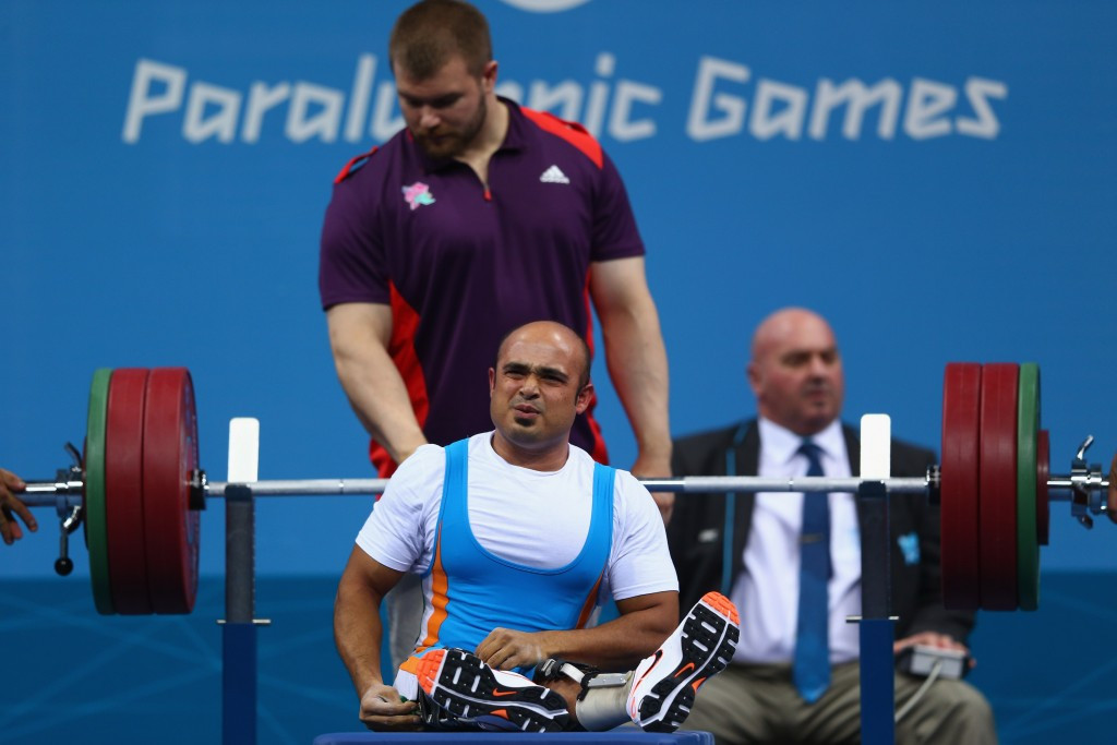 Indian powerlifter Farman Basha pictured competing at the London 2012 Paralympic Games ©Getty Images