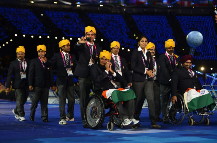 Indian athletes pictured at the Opening Ceremony of London 2012. Athletes now face not being able to compete under their own flag at Rio 2016 ©AFP/Getty Images