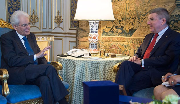 Thomas Bach met with Italian President Sergio Mattarella to discuss Rome's 2024 Olympic bid ©CONI