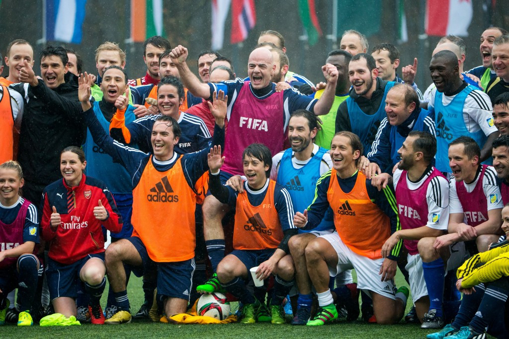 Newly-elected FIFA President Gianni Infantino participated in a friendly match with several footballing legends following his surprise election victory