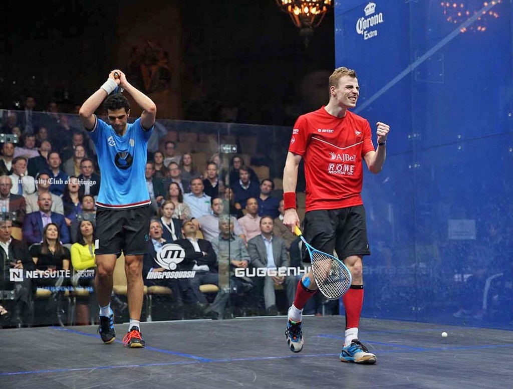 England's Nick Matthew prevented an Egyptian clean-sweep of the finals at the Windy City Ope in Chicago by defeating World Championship runner-up Omar Mosaad ©squashpics.com